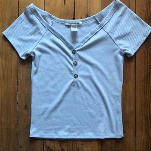 Light blue rubbed crop top size med